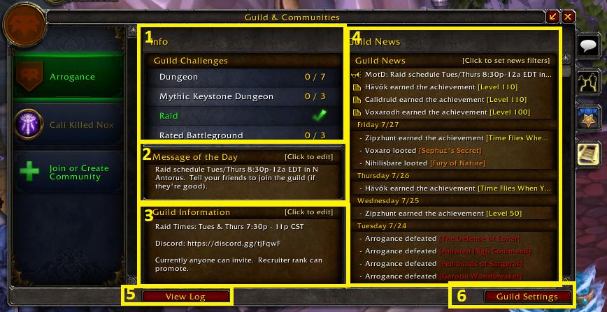 Guild Panel Info