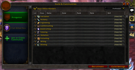 Guild Panel Roster Professions