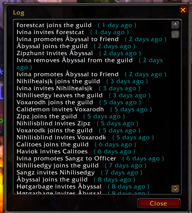 Guild Panel View Log